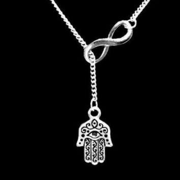 Hamsa Hand Charm Eye Of God Jewish Religious Infinity Lariat Necklace