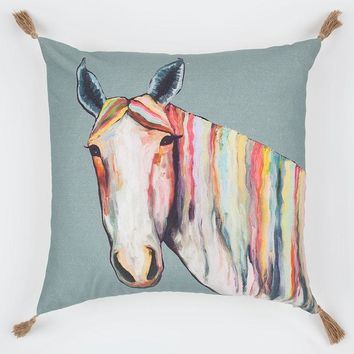 Horse On Gray Pillow