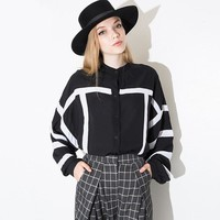 2016 New Women Autumn Blouse Black Long Shirt Blusa Woman O-Neck Long Sleeve Button Up Striped European Casual Shirt  Tops 1606