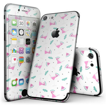 The Pink and Teal Watermenlon Cocktail - 4-Piece Skin Kit for the iPhone 7 or 7 Plus