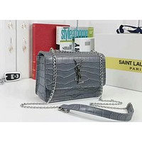 YSL Trending Women Stylish Shopping Crocodile Leather Metal Chain Crossbody Satchel Shoulder Bag(6-Color) Grey I-WMXB-PFSH