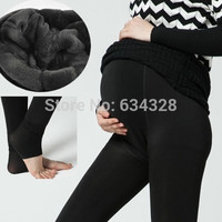 Plus Velvet Thickening Winter Maternity Leggings Pants Clothes For Pregnant Women Warm High Waist Suspender Pregnancy Trousers@WYG (Color: Black) = 1946629316