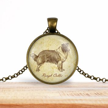 Rough Collie pendant necklace, choice of silver or bronze, key ring option