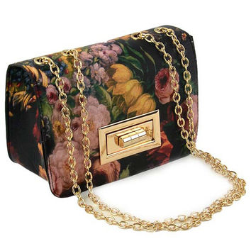 Black Floral PU Chain Across Body Bag