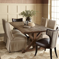 "Old Hickory Tannery - ""Carlyle"" Dining Table, ""Roxbury Stripe"" Dining Chair, & ""Erica"" Dining Chair - Horchow"