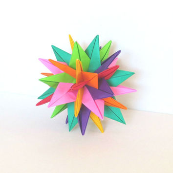 "Modular Origami Ball 4"", Christmas Ornament, Paper Sculpture, Spiky Geometric Decoration Bright Colors"