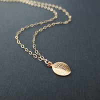 Tiny, Leaf, Gold filled, Sterling silver, Chain, Necklace