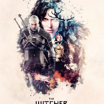 AtFipan Geralt-The Witcher 3 Hunting Wild Game Modular Poster 1 Pcs Unframed Wall Pictures For Living Room Large Canvas Painting