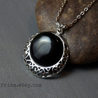 Black Agate Stone Pendant | Silver Filigree Pendant | Gemstone necklace | Black Stone Necklace | Round Stone | Silver Chain or Black Choker