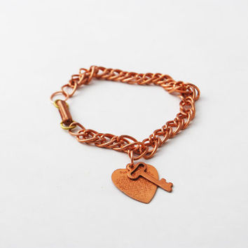 Copper Toned Heart and Key Charm Bracelet - The Lord's Prayer, Christian Jewelry, Key Charm, Chain Link Bracelet, Heart Charm