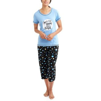 Secret Treasures Women's Pajama Tee and Capri Sleep Pants 2-Piece Sleepwear Set - Walmart.com