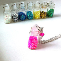 Pixie dust filled mini glass vial necklace, vial necklace, pink necklace, glitter necklace, gifts for her, gifts for girls