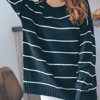 Black Striped Long Sleeve Sweater