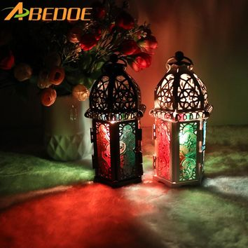 ABEDOE Vintage Moroccan Decor Lanterns Hollow Candlestick Candle Holder Windproof Candle Holders For Wedding Home Decoration