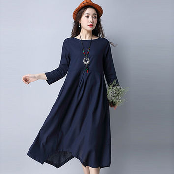 Vestidos 2017 New Spring Summer Casual O Neck 3/4 Sleeve Cotton And Linen Party Tunic Dresses Plus Size Pleated Women Dress