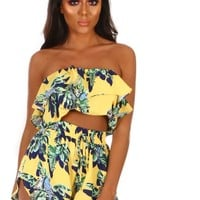 Brazilian Babe Yellow Tropical Print Bardot Frill Crop Top