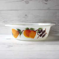 Vintage Fire King Gay Fad Milk Glass Painted Round Baking Casserole Dish | Vintage Fruit | Made in the USA