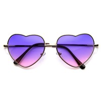 Womens Fashion Metal Color Tint Lens Heart Shaped Sunglasses