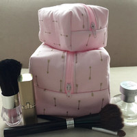 Blush and Gold Arrow Mommy and Me Makeup Bag Set, Makeup Bag Set, Pink Makeup Bags, Valentine's Gift, Monogram Available