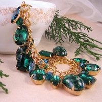 Holiday jewelry EMERALD CHRISTMAS charm bracelet by shadowjewels
