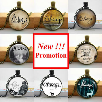 Multi-2 2015 New Fashion Always Patronus Necklace Harry Potter Always Jewelry Glass Picture Pendant