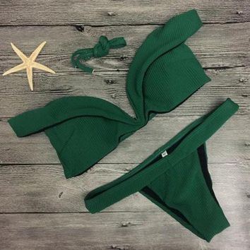 PEAPIH3 Sexy pure Drak green strapless cute two piece bikini lotus off shoulder swimsuit