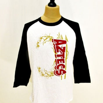 Retro Baseball T-Shirt Raglan Long Sleeve White Aztec Tee Medium