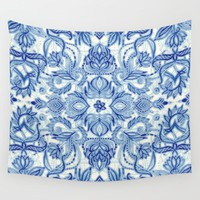 Pattern in Denim Blues on White Wall Tapestry by Micklyn
