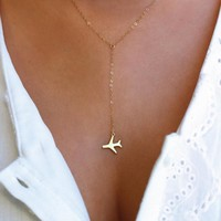 Gold Silver Airplane Pendant Necklace