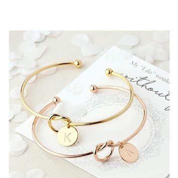 Letter Rose Gold Silver Color Knot Heart Bracele Fashion Jewelry (26 Letters Available)