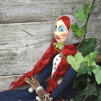 Art doll OOAK Cinderella,  Collectible doll, mixed media felted and sculpted in paperclay doll, red hair