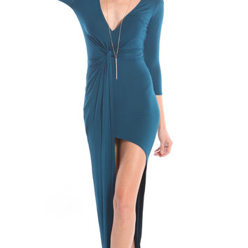 TWISTED FRONT DRESS WITH SIDE SLIT - TEAL