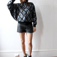 80s LEATHER PATCHWORK Black Metallic Crochet Dolman Top Shirt S M L