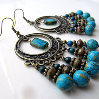 Turquoise Blue Bronze Chandelier, Blue Bohemian Earrings, Blue Boho Glass Dangles, Beaded Gypsy Earrings, Bohemian Jewelry