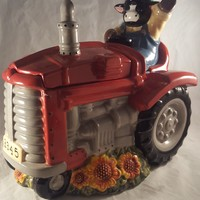 Mercuries China Cow Driving A Tractor Cookie Jar
