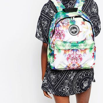 Hype Backpack in White with Floral Print