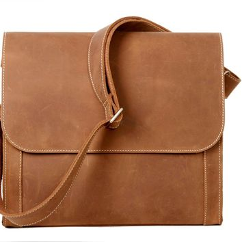 BLUESEBE MEN HANDMADE VINTAGE GENUINE LEATHER CROSSBODY MESSENGER BAG PD01