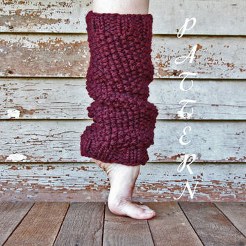 Women's Leg Warmers Pattern - Ribbed Slouchy Leg Warmers - Seed Stitch - Thick and Chunky - Instant PDF Download