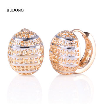 2016 Fashion Hoop Earing 18K Rose Gold Plated Hoop Earring Basket Shaped Half Ball Wedding Party Hoop Earings for Women E401