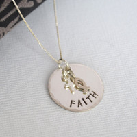 Hand-Stamped FAITH Necklace- Cross and Christian Fish Symbol Necklace- Sterling Silver
