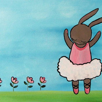 Ballerina Dancer Kids Wall Art, Little Girl Nursery Decor Original Painting