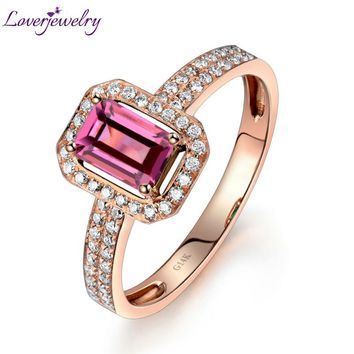 Solid 14K/585 Rose Gold Natural Tourmaline Ring,Tourmaline Engagement Diamond Ring Emerald Cut 4x6mm WU217