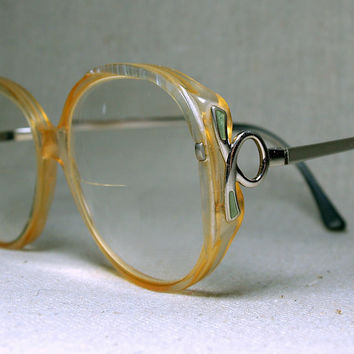 VINTAGE OVERSIZED ROUND Frames Rx Prescription Womens 1980s Eyeglass Frames Large Translucent Clear Yellow