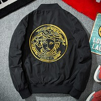 Versace 2017 spring and autumn youth tide brand men's embroidery baseball flight jacket Black gold