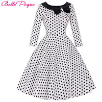 Belle Poque 50s Polka Dot Vintage Robe Ete Bow Black Peas Plus Size Sleeve Womens Summer Dresses 2017 Summer Casual Party Dress