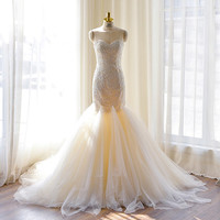Sweetheart Lace Neckline Chapel Train Mermaid Wedding Dress with Lace Bodice Custom Made Wedding Gown