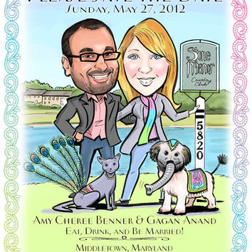Save the Date Cards and Magnets, Wedding Invitations - Fun Custom Caricature