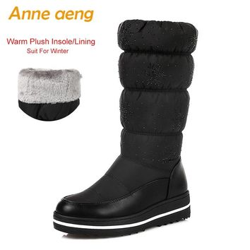2018 New Winter Women Mid-Calf Boots Middle Heel Round Toe Slip-On Waterproof Sexy Ladies Women Shoes Black Warm Down Snow Boots