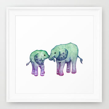 Baby Elephant Love - ombre mint & purple Framed Art Print by Perrin Le Feuvre