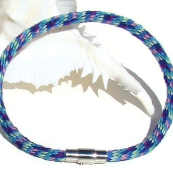 NEW-- peacock colors kumihimo bracelet with stainless steel magnetic clasp